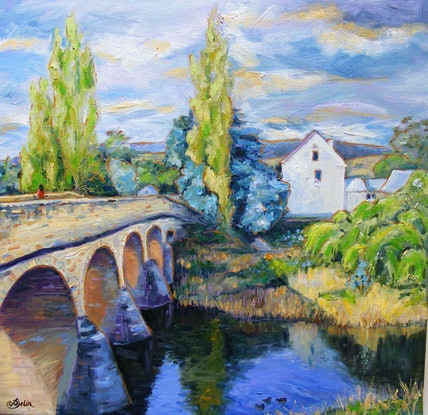 """(CreativeWork) """"COUNTRY TOWN 3"""" by Daniela Selir. Oil Paint. Shop online at Bluethumb."""