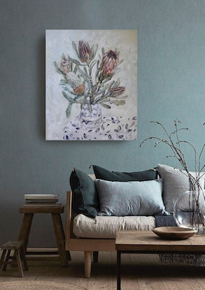 (CreativeWork) Still Life with Proteas and Banksia by Katerina Apale. Oil Paint. Shop online at Bluethumb.