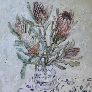 (CreativeWork) Still Life with Proteas and Banksia by Katerina Apale. #<Filter:0x000055f3f067b800>. Shop online at Bluethumb.