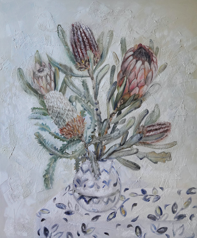 (CreativeWork) Still Life with Proteas and Banksia by Katerina Apale. oil-painting. Shop online at Bluethumb.