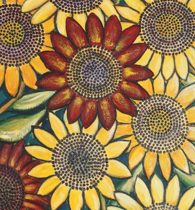 (CreativeWork) Giant Sunflowers - (# 2)  by Corinne Young. Oil Paint. Shop online at Bluethumb.