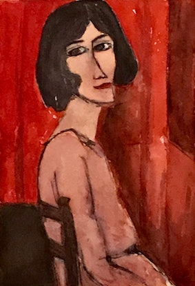 (CreativeWork) Modigliani Lady by Noela O'Keefe. Watercolour Paint. Shop online at Bluethumb.