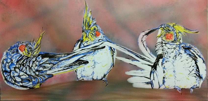 (CreativeWork) Cockatiels by Susan Willemse. Acrylic Paint. Shop online at Bluethumb.