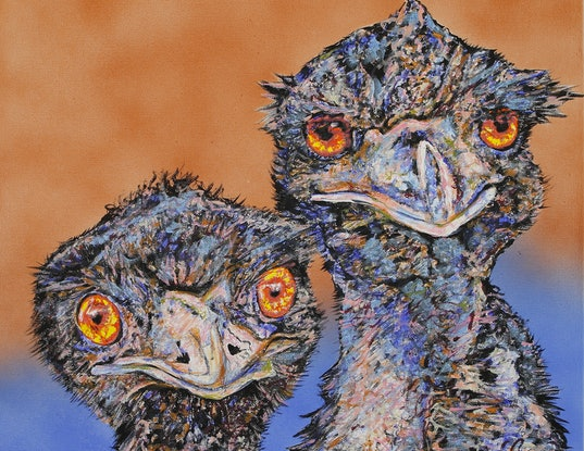(CreativeWork) Mr. and Mrs. Emu by Susan Willemse. Acrylic Paint. Shop online at Bluethumb.