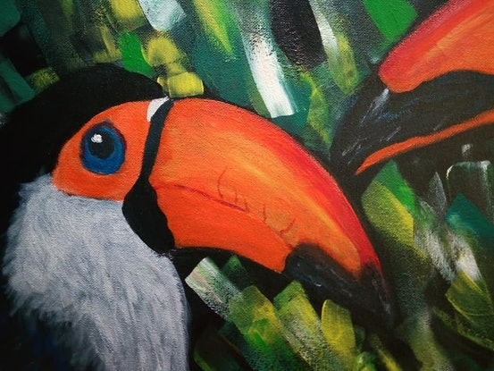 """(CreativeWork) """"It's all about family """"- Colorful Toucans by Ilanit Pocock (Vanu). Acrylic Paint. Shop online at Bluethumb."""
