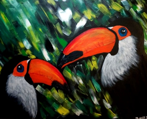 """(CreativeWork) """"It's all about family """"- Colorful Toucans by Ilanit Vanu. Acrylic Paint. Shop online at Bluethumb."""