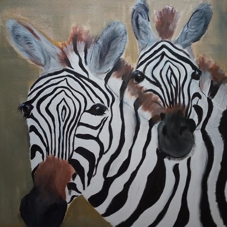 (CreativeWork) Zig & Zag - Zebras Embrace  by Ilanit Pocock (Vanu). Acrylic Paint. Shop online at Bluethumb.