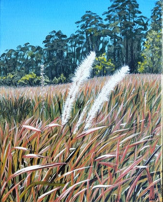 (CreativeWork) Grass Flowers by Lisa Gaudron. Acrylic Paint. Shop online at Bluethumb.