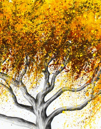 (CreativeWork) Sunflower Fire Tree by Ashvin Harrison. Acrylic Paint. Shop online at Bluethumb.