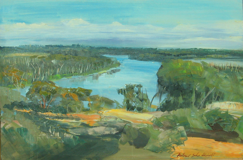 (CreativeWork) The Murray River Near Waikerie by Roland Weight. Oil Paint. Shop online at Bluethumb.