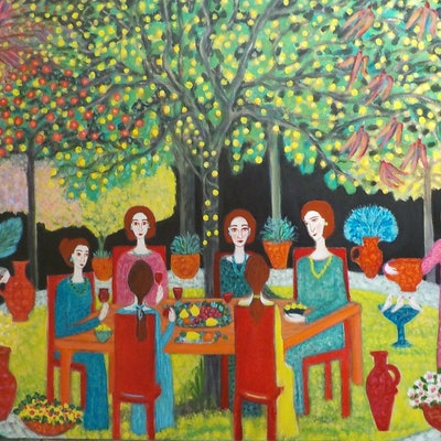 "(CreativeWork)  ""Under a tree with lights"" by Catherine Walker. acrylic-painting. Shop online at Bluethumb."