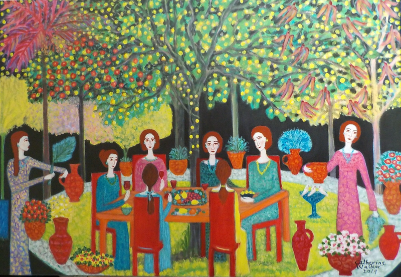 "(CreativeWork)  ""Under a tree with lights"" by Catherine Walker. Acrylic Paint. Shop online at Bluethumb."