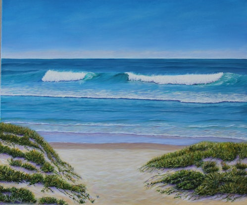 (CreativeWork) A path to the Beach by Deb Clancy. Acrylic Paint. Shop online at Bluethumb.