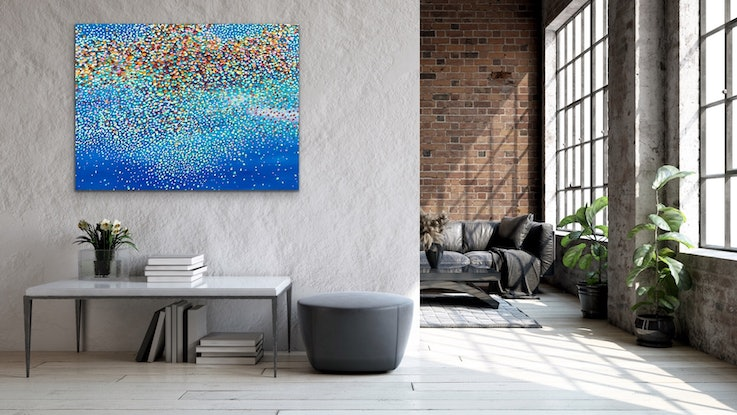 (CreativeWork) Cool Blues by Theo Papathomas. Oil Paint. Shop online at Bluethumb.