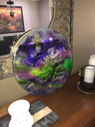 (CreativeWork) Other Side of the Galaxy by Lisa Brockman. Resin. Shop online at Bluethumb.