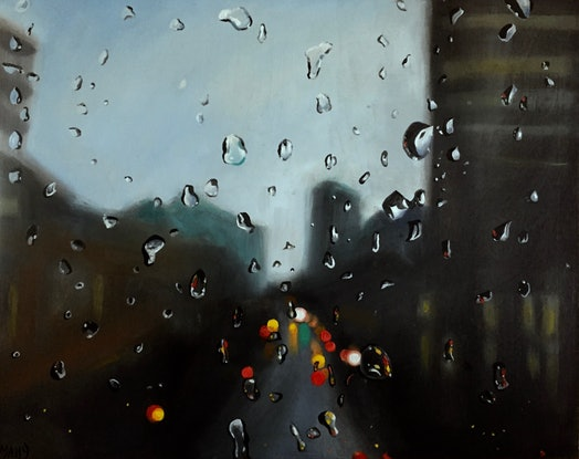 (CreativeWork) I Love  a Rainy Night by Cathy Yarwood - Mahy. Oil Paint. Shop online at Bluethumb.
