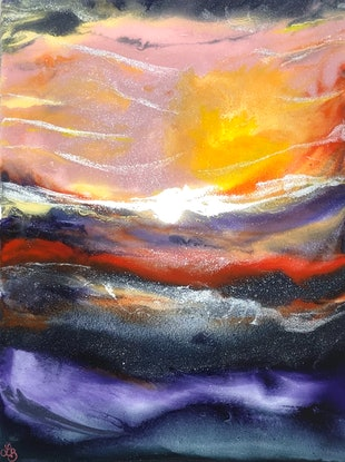 (CreativeWork) Stormy Sunset by Lisa Brockman. Resin. Shop online at Bluethumb.