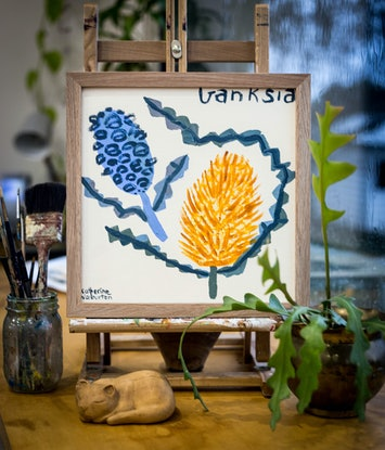 (CreativeWork) Banksia by Katherine Warburton. Acrylic Paint. Shop online at Bluethumb.
