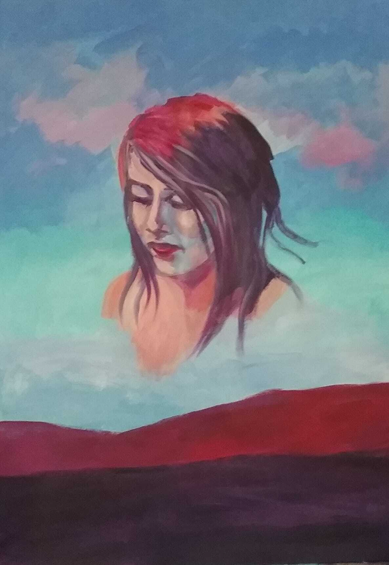 (CreativeWork) Ang Moh Char Boh (Red haired Woman) by Dawn Lim. Acrylic Paint. Shop online at Bluethumb.
