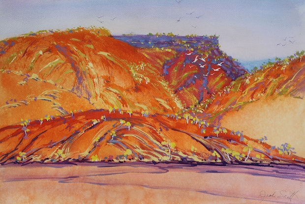 (CreativeWork) Outback Glow by Jude Scott. Mixed Media. Shop online at Bluethumb.