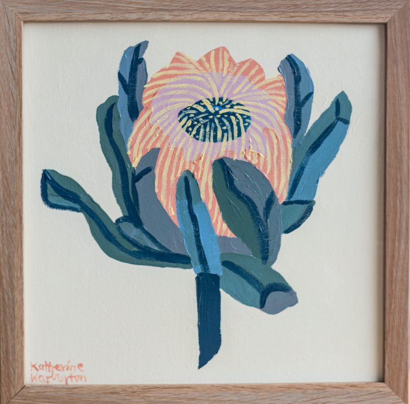 (CreativeWork) Protea Still LIfe by Katherine Warburton. Acrylic Paint. Shop online at Bluethumb.