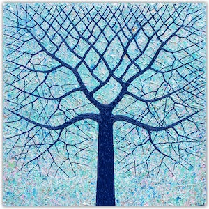 (CreativeWork) Tree - Deep Blue Ocean Tree Textured Abstract by Miranda Lloyd. mixed-media. Shop online at Bluethumb.