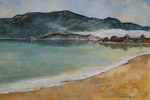 (CreativeWork) Kunanyi from Howrah Beach by Christopher Johnston. Acrylic Paint. Shop online at Bluethumb.