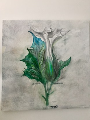 (CreativeWork) Angel's Trumpet by Teresa Kai. Acrylic Paint. Shop online at Bluethumb.
