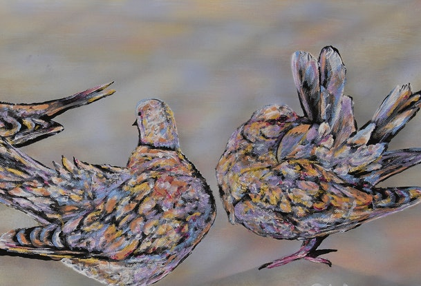(CreativeWork) Doves by Susan Willemse. Acrylic Paint. Shop online at Bluethumb.