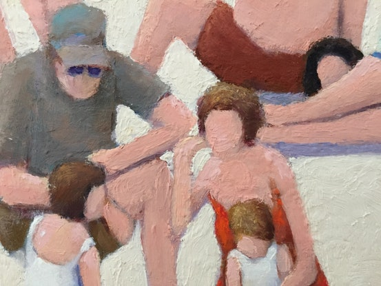 (CreativeWork) Beach Lovers by Ross Bell. Oil Paint. Shop online at Bluethumb.
