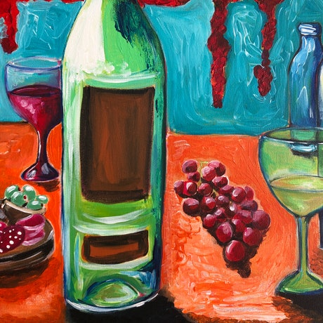 (CreativeWork) Wine Time by Nicola Toms. Acrylic Paint. Shop online at Bluethumb.