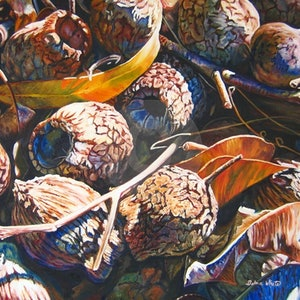 (CreativeWork) Bush Litter by Delma White. oil-painting. Shop online at Bluethumb.