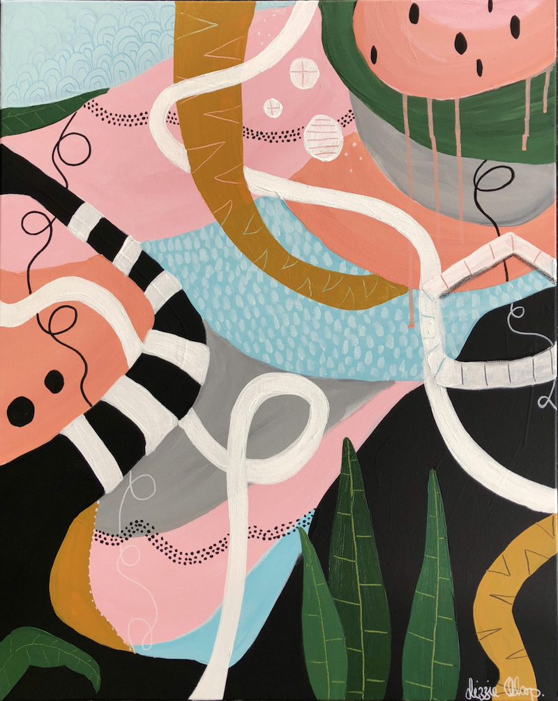 (CreativeWork) Picnic in The Jungle  by Lizzie Alsop. Mixed Media. Shop online at Bluethumb.