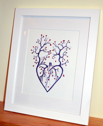 (CreativeWork) Tree of Hearts (Framed)  by Linda Callaghan. Watercolour Paint. Shop online at Bluethumb.