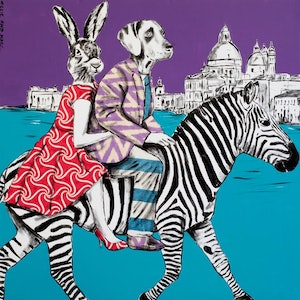(CreativeWork) They had a party of a lifetime in Venice  by Gillie and Marc Schattner. print. Shop online at Bluethumb.