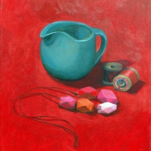 (CreativeWork) Still Life with Geometric Necklace by Sally Browne. oil-painting. Shop online at Bluethumb.
