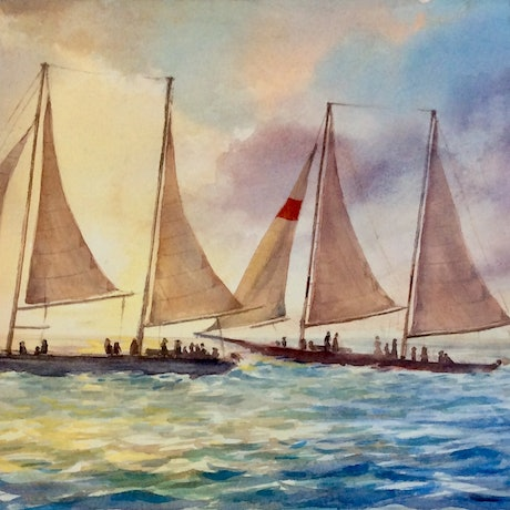 (CreativeWork) Sunset Sail by Robin Hicks. Watercolour Paint. Shop online at Bluethumb.