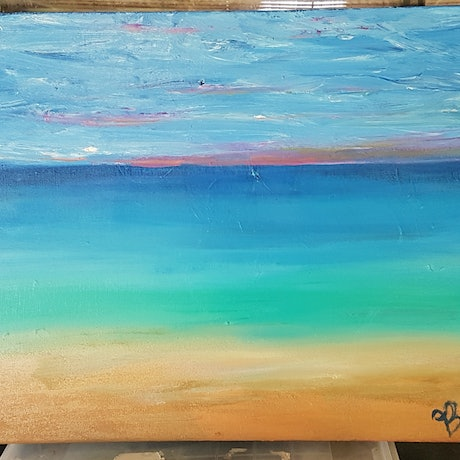 (CreativeWork) new beach at sunrise#4 by Ben Fleming. Oil Paint. Shop online at Bluethumb.