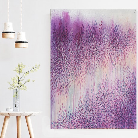 (CreativeWork) Love Through Purple Haze II by Leni Kae. Acrylic Paint. Shop online at Bluethumb.