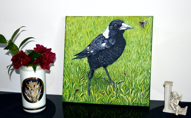 (CreativeWork) Friendly Magpie by Linda Callaghan. Acrylic Paint. Shop online at Bluethumb.