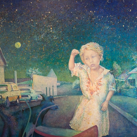 (CreativeWork) Twilight in an Inner Suburb by Chandy Pendergrast. Oil Paint. Shop online at Bluethumb.
