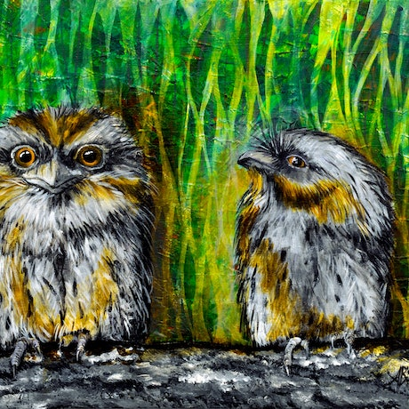 (CreativeWork) Tawny Frogmouth Conversations by Annette Appleby. Acrylic Paint. Shop online at Bluethumb.