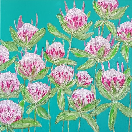 "(CreativeWork) ""Pretty in Pink "" by Donna Cozens. Acrylic Paint. Shop online at Bluethumb."