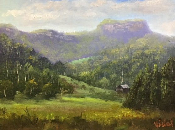 (CreativeWork) Cloudy afternoon near Barrengarry - Oil on linen board by Christopher Vidal. Oil. Shop online at Bluethumb.
