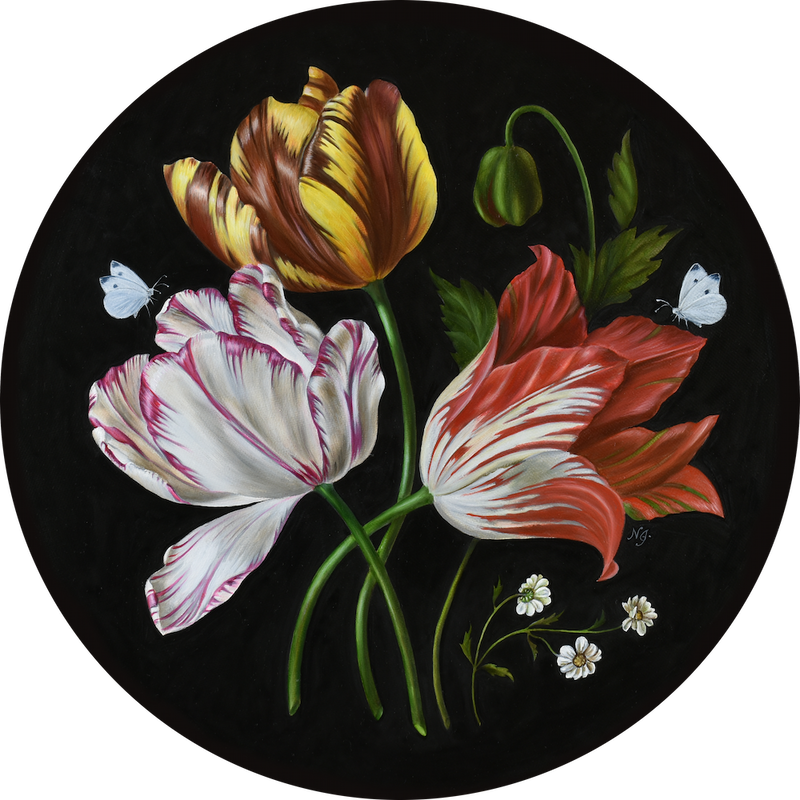 (CreativeWork) Three Tulips - Homage to the Dutch master by Natasha Junmanee. #<Filter:0x0000562f881de1c0>. Shop online at Bluethumb.