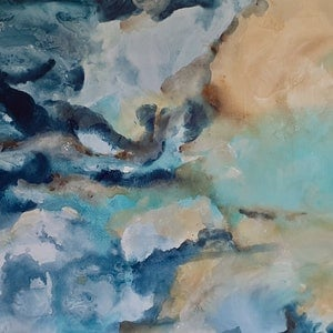 (CreativeWork) Oceanic by Emily Snow. mixed-media. Shop online at Bluethumb.