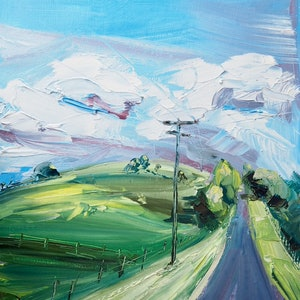 (CreativeWork) 'Are we there yet' Toowoomba Qld  by Michelle Keighley. oil-painting. Shop online at Bluethumb.