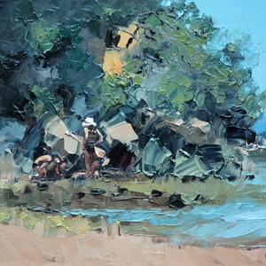 (CreativeWork) At The End Of The Beach by Claire McCall. oil-painting. Shop online at Bluethumb.