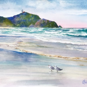 (CreativeWork) Byron Bay  Surf Watch Tallow Beach Original Watercolour Painting by Chris Hobel. #<Filter:0x00007f911065fd30>. Shop online at Bluethumb.