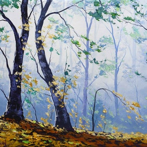 (CreativeWork) Forest Light  by Graham Gercken. oil-painting. Shop online at Bluethumb.